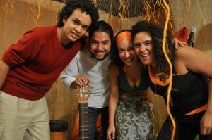 Haroldo, Lucas, Anna e Fabrícia na gravação do CD e do DVD dos Darandinos